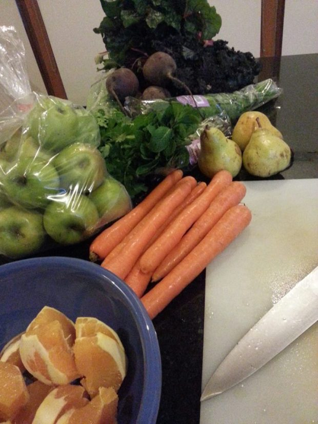 My bounty of fruit and veggies for juicing.