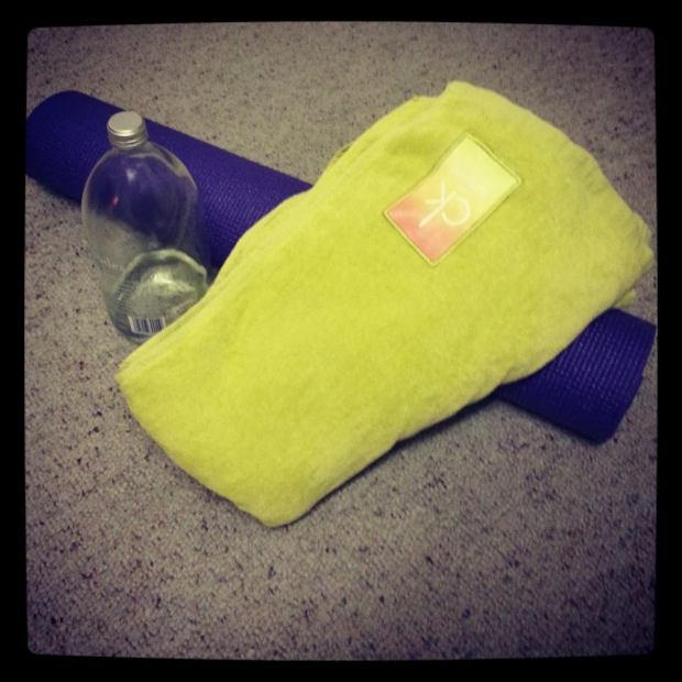 Yoga essentials: a mat, a towel (if it's hot yoga) and water.