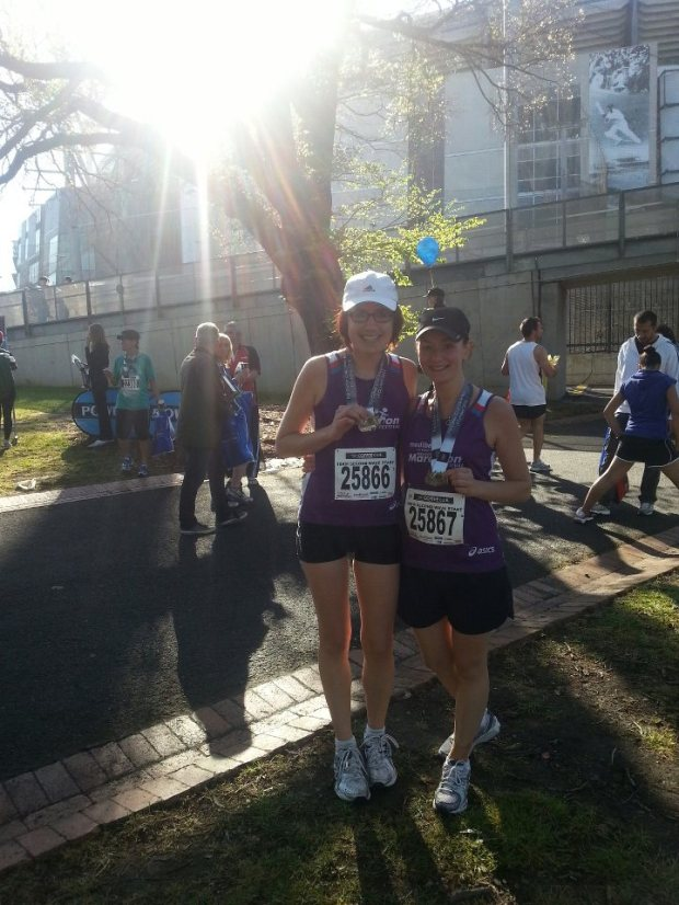 My bestie and I after finishing last year's Melbourne Marathon, which had record entries.